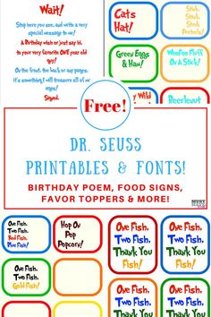 Dr. Seuss Birthday party ideas, free Dr Seuss printables, Birthday poem, food signs, Dr Seuss printable decorations and more! Free Dr. Seuss fonts too!  via @musthavemom