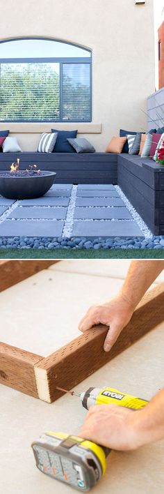 This DIY built-in patio bench has storage space for pillows, propane tanks and other outdoor items. It even includes flower planters at both ends. Add an awning over it and it is a perfect outdoor social area. Patio Bench, Diy Patio, Backyard Patio, Gravel Patio, Concrete Pavers, Fire Pit Gravel Area, Paver Sand, Patio Stone, Paver Stones