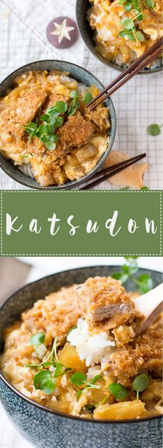Katsudon is a delicious Japanese dish madewith rice topped with Tonkatsu and a sweet and tasty sauce! It's easy to make and is perfect for lunch or dinner! Pork Recipes, Asian Recipes, Cooking Recipes, Asian Dinner Recipes, Indonesian Recipes, Drink Recipes, Japanese Dinner, Japanese Rice Bowl, Easy Japanese Recipes