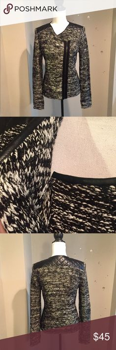 Ann Taylor MotoZip Sweater,quilted shoulders,sz M Ann Taylor Black & White Marled Moto Zip Sweater, faux leather quilted shoulders, size Medium. Only worn once, excellent condition! Ann Taylor Sweaters