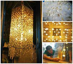 "This light has won price for ""Tái khám phá không gian Xanh contest in Vietnam about recycled design, […] Acrylic Panels, Lighting Design, Lighting Ideas, Vintage Lighting, Pendant Lamp, Lamp Light, Repurposed, Lanterns, Keyboard Keys"
