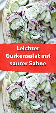 Leichter Gurkensalat mit saurer Sahne Light cucumber salad with sour cream. Big Mc, Salat Al Fajr, Southwest Salad Recipe, Orzo Salad Recipes, Vegetarian Quesadilla, Cranberry Vodka, Desserts For A Crowd, Banana Recipes, Cucumber Salad