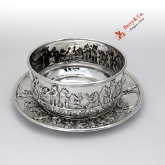 Bear Baby Bowl and Underplate Sterling Silver Gorham Silversmiths 1907
