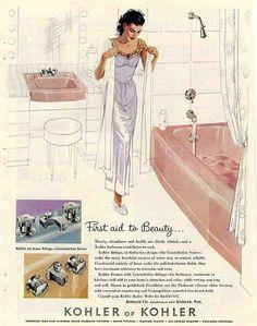 1959 Kohler pink bathroom advertisement.
