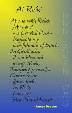 a personal take on reiki principels Maybe a good idea to think and rethink your own version of the reiki rules every year or so.....