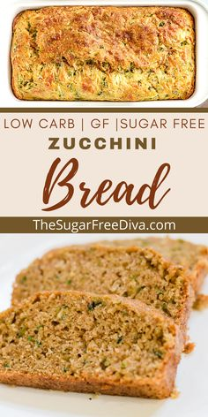 Great tasting homemade diy recipe for Delicious tasting homemade zucchini bread recipe that is sugar free and low in carbohydrates with gluten free options. The perfect bread recipe for holiday baking, fall, summer, snacks and breakfast.