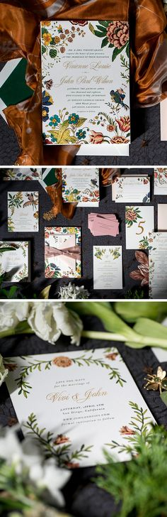 a beautiful collection of colorful vintage botanical wedding invitations by hello tenfold