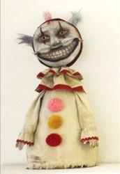 "Michelle Renee Bernard, ""Sick and Twisty"", 10"" x 4.5"" x 3.7"", Paper Clay, Doll, Twisty the Clown, American Horror Story, Freak Show, Side Show"