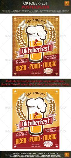 Oktoberfest Poster / Flyer Print Template. 100% editable text and graphics.