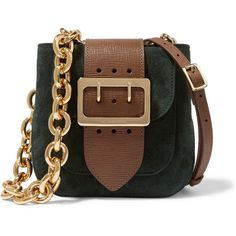 Burberry Prorsum Buckle-embellished suede and textured-leather... ($1,290) ❤ liked on Polyvore featuring bags, handbags, shoulder bags, burberry, green, green handbag, brown purse, brown suede purse, shoulder strap bag and brown handbags