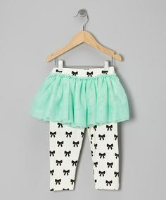 Mint & Black Bow Skirted Leggings - Infant & Toddler by Taylor Joelle Designs #zulily #zulilyfinds