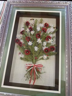 This Pin was discovered by omr Ribbon Embroidery, Quilting Projects, Diy And Crafts, Felt, Quilts, Frame, Flowers, Christmas, Handmade