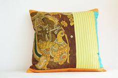 Vinayaka Hand Painted Kalamkari Cushion Cover by anekdesigns