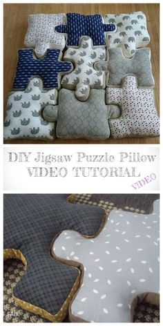 DIY Jigsaw Puzzle Pillow Free Sewing Pattern Video - Kids Pillows - Ideas of K. : DIY Jigsaw Puzzle Pillow Free Sewing Pattern Video – Kids Pillows – Ideas of Kids Pillows Sewing Projects For Kids, Sewing For Kids, Free Sewing, Baby Pillows, Kids Pillows, Throw Pillows, Boys Sewing Patterns, Dress Patterns, Sewing Pillows