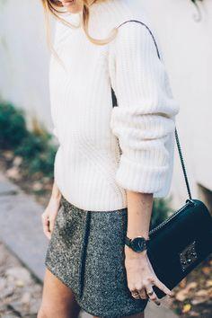 chunky sweater and tweed skirt in Charleston / Jess Ann Kirby