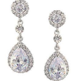 Charm EVER FAITH Flower Teardrop Dangle Earrings Austrian Crystal CZ Pave Bridal Clear