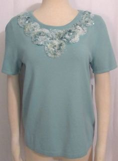 NEW Womens Ladies ALFRED DUNNER Aqua Stretch Knit & Fabric Floral Accents Top S #AlfredDunner #StretchKnit #Versatile