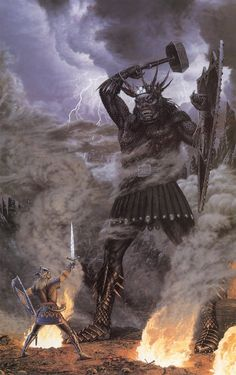 Fingolfin and Morgoth in single combat (Ted Nasmith) Tolkien Books, Jrr Tolkien, Fantasy Concept Art, Fantasy Artwork, Gandalf, Legolas, Morgoth, O Hobbit, Fantasy Warrior