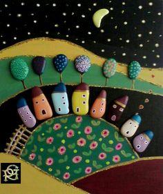 Notte stellata-Painted Stones di Rosaria Gagliardi