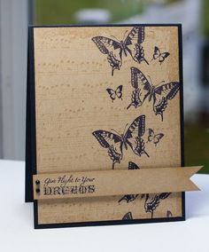 handmade card ... column of stamped butterflies ...  great look with dark blue on kraft (my nephew's wife chose this color combo for her wedding colors ... this is not from her) Stampin' Up!