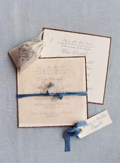 Antique inspired wedding invitations: http://www.stylemepretty.com/2014/07/17/al-fresco-elegance-at-cal-a-vie/   Photography: Jose Villa - http://josevilla.com/