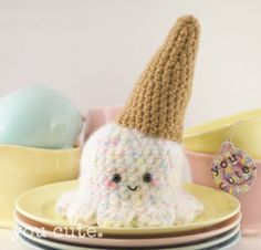 Crochet Kawaii Ice Cream Cone Plush by youcute on Etsy, $38.00