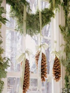 Add some sparkle or snow for Country Christmas window decorations :) Christmas Time Is Here, Noel Christmas, Country Christmas, Winter Christmas, Christmas Ornaments, Christmas Kitchen, Simple Christmas, Natural Christmas, Christmas Windows