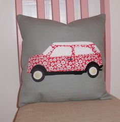 This fun funky cushion features a flowery red mini car, the cushion will brighten any room and would particularly suit a nursery or child's room. The cushion is made from quality dove grey linen appliqued with a red and white flowery classic mini in co. Applique Tutorial, Applique Patterns, Stag Cushion, Funky Cushions, Neck Support Pillow, Applique Cushions, Craft Stalls, Decorative Throw Pillows, House Warming