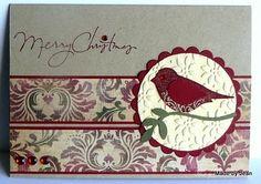 Card: Stampin' Up Crumb Cake, Cherry Cobbler, Always Artichoke, Vanilla card from stash Ink: Cherry Cobbler, SU Punch Potpourri, SU XL bird punch, SU Petals-a-Plenty Embossing folder.