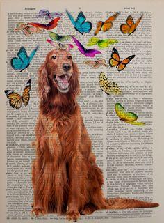 Irish Setter Dictionary Art Print Dog Pet Animal by Lexiconograph