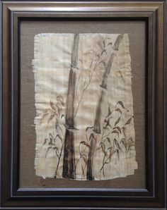 Bamboo. Ink on papyrus. Original painting.  FRAMED by olga367 on Etsy