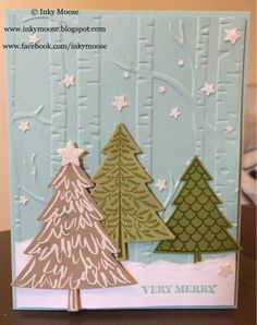 Stampin' Up! 'Peaceful Pines' In A 'Woodlands' Scene.