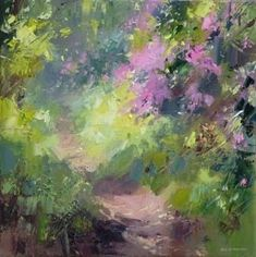British Artist Rex PRESTON - Sunlight on the Rhododendrons: