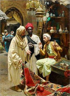 The Carpet Seller in Egypt by Rudolf Swoboda Portrait Photos, Tableaux Vivants, Arabian Art, Islamic Paintings, Historical Art, Egyptian Art, Islamic Art, Oeuvre D'art, Art History