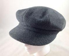Burberry London Newsboy Cabbie Cap Gray Wool Hat Nova Check Lining Mens L…