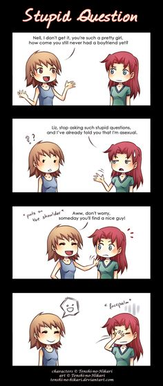 Stupid question by Tenshi-no-Hikari on deviantART<<< I get this every once a day and it's so annoying. Grr.