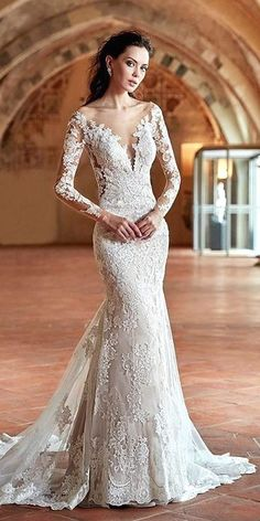 Gorgeous Tattoo Effect Wedding Dresses ❤ See more: http://www.weddingforward.com/tattoo-effect-wedding-dresses/ #weddings