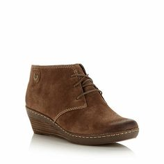 Clarks Taupe 'marilyn zoe' suede mid wedge ankle boots- at Debenhams.com