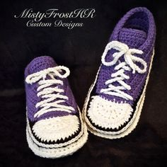 Rock your pj's with our custom crochet Converse inspired sneaker slippers. Available in any color and size of your choice! All of our products are made to order in the size and color of your choice. O
