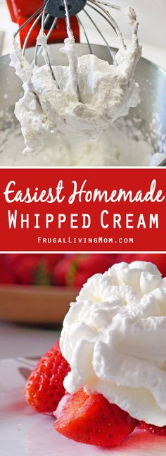 Homemade Whipped Cream Homemade Whipped cream is so good, and when it is this easy why get the can?Homemade Whipped cream is so good, and when it is this easy why get the can? Making Whipped Cream, Homemade Whipped Cream, Sweet Whipped Cream, Whipped Cream Frosting, Recipes With Whipping Cream, Cream Recipes, Whip Cream Recipe With Half And Half, Heavy Whipping Cream, Just Desserts