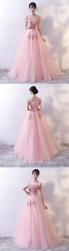 pink tulle lace appliqué long prom dress, pink tulle bridesmaid dress, pink tulle wedding party dress