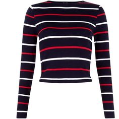 Teens Blue Stripe Ribbed Long Sleeve Top ($14) ❤ liked on Polyvore featuring tops, crop tops, stripe top, cut-out crop tops, blue top, cropped tops and blue crop top