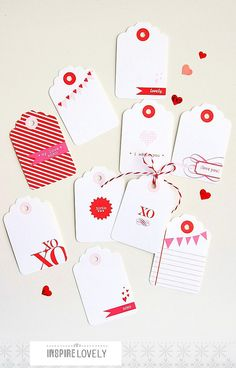 10 Valentine Design Gift Tags by InspireLovely on Etsy