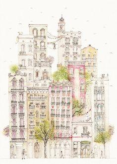 Los balcones de Gràcia by Krystel Cárdenas Ilustración