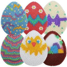 Easter eggs hama beads by Melty Bead Patterns, Pearler Bead Patterns, Perler Patterns, Beading Patterns, Perler Beads, Fuse Beads, Hama Beads Design, Perler Bead Templates, Melting Beads