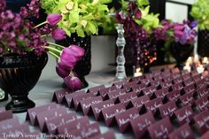 Purple escort card table