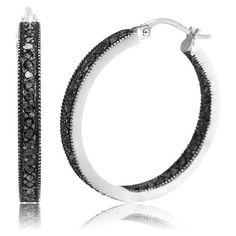 $99.99 - 1 Carat Black Diamond Inside-Out Sterling Silver Hoop Earrings