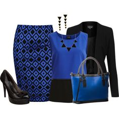 Love this diamond printed skirt - don't have anything like it.  Love the color block top if it is flattering enough on with a black blazer.  These bag is perfect too though a little big as I don't carry that much with me.  But I don't own a blue purse so it would be nice.  Could carry my iPad in it.