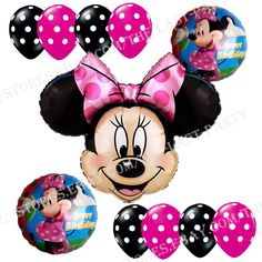 Birthday Party Supplies Minnie Mouse Foil Balloons Pink Girl Polka dots Anagram #Anagram #BirthdayChild