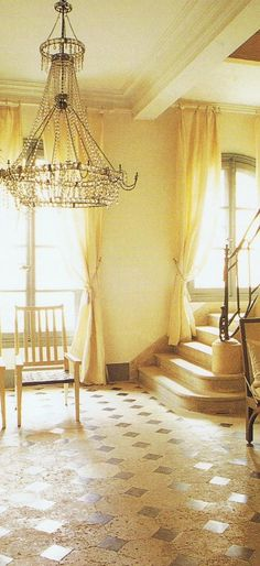 lovely sunny room, stone stairs and floor, antique chandelier ~ jp